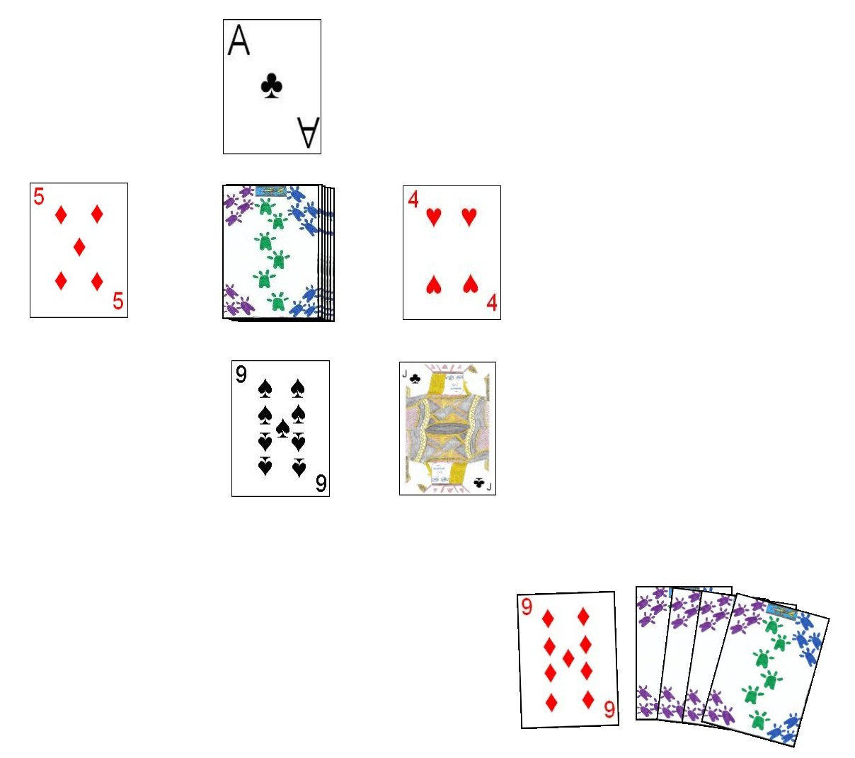 In This Example Layout For The Game Chinese Go Fishing, The Player Could  Capture Three Cards In Playing His Nine; The Five Of Diamonds, Four Of  Hearts And