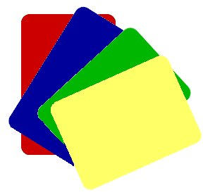 Cut cards are found in a variety of colors