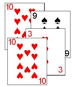 The two 10's of Hearts cancel each other out, thus the 3 takes the trick.