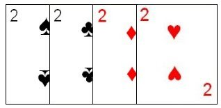 The four deuces in a standard deck of cards.