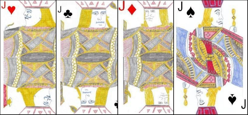 The four jacks in a standard pack of cards.