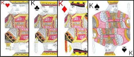 The four kings in a standard pack of cards