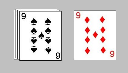 In Doubles Speed, a card can also be placed on another card of the same denomination