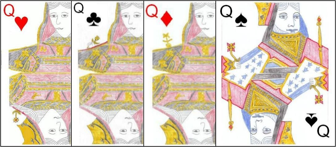 The Queens in a standard pack of cards.