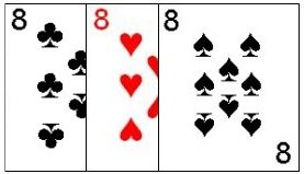 Three cards of the same denomination